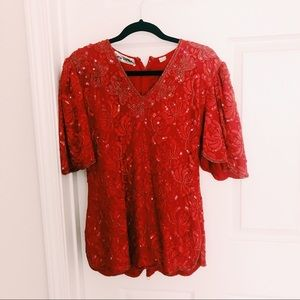 Red Sequin Beaded Top